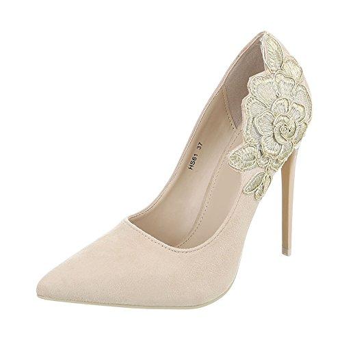 High Heel Pumps Damen-Schuhe High Heel Pumps Pfennig-/Stilettoabsatz High Heels Ital-Design Pumps Beige, Gr 37, Hs61-