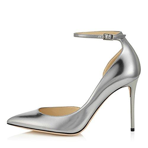 uBeauty Damen Stilettos High Heels Knöchelriemchen Pumps Übergröße Seite Hohl Ankle Buckle Strap Schuhe Silber 39 EU