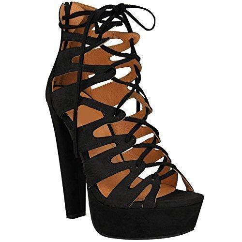 New Womens Damen High Heels Plattform Gladiator Sandalen Schnür Stiefel Schuh Größe - Schwarz Kunstwildleder, 38