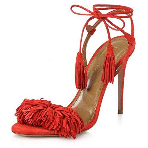 uBeauty Damen Stilettos High Heels Tassel Sling Back Sandalen Knöchelriemchen Open Toe Schnüren Übergröße Schuhe Rot Wildleder EU 38