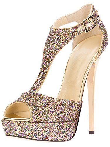uBeauty Damen Pumps Stilettos High Heels Peep Toe Glitzer Übergröße Sandalen mit Plateau T-Spangen Mehrfarbig 37 EU