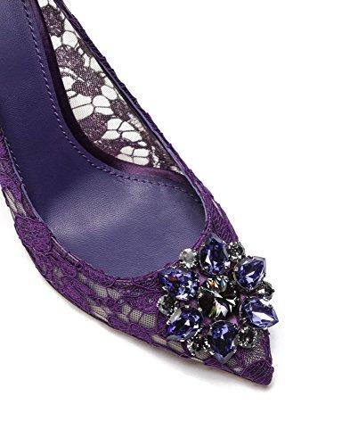 uBeauty Damen Stilettos Hell Spitzen Pumps Luxus High Heels Hochzeitsschuhe Spitze Zehen Slip On Sandalen Lila 38 EU
