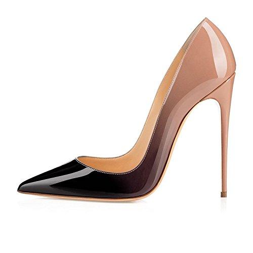 uBeauty Damen High Heels Stilettos Slip-on Pumps Spitze Zehen Sexy Übergröße Schuhe Beige 38.5 EU