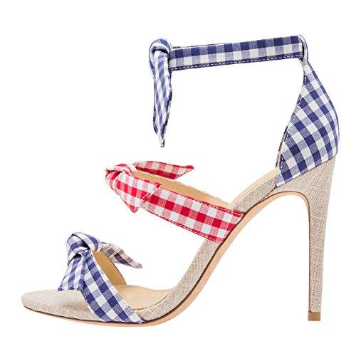 Damen Open Toe Sommer Sandalen High-Heels Stiletto Knöchelriemchen Kariert EU42