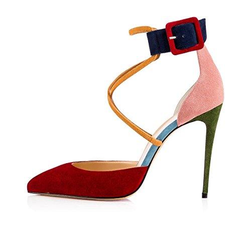 uBeauty Damen Stilettos High Heels Ankle Buckle Pumps Knöchelriemchen Mischfarben Cross Strap Sandalen Mehrfarbig 42 EU