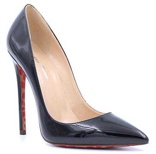 uBeauty Damen Sexy High Heels Stilettos Slip-on Pumps Spitze Zehen Klassischer Übergröße Pumps Schwarz 37.5 EU
