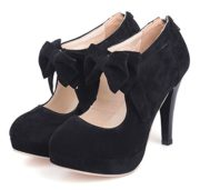 uBeauty Damen Mary Jane Pumps Bowknot Reißverschluss Schuhe High Heels Pumps mit Plateau Schwarz 45 EU