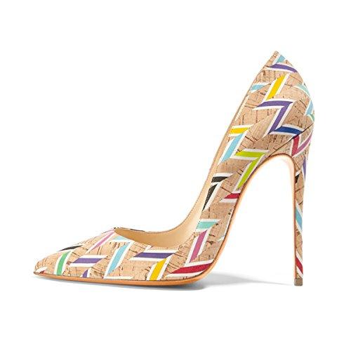 uBeauty Damen High Heels Stilettos Slip-on Pumps Spitze Zehen Klassischer Übergröße Schuhe Mehrfarbig 38 EU