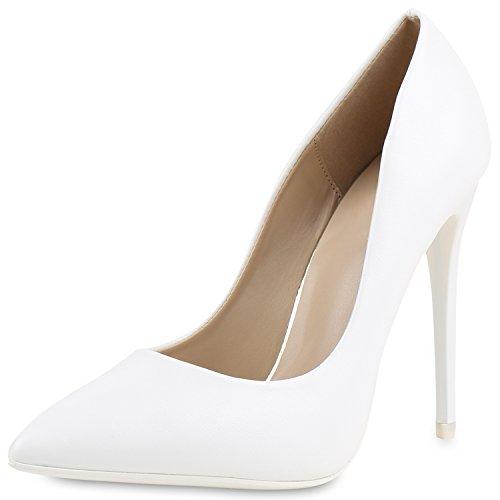 Damen Spitze Pumps Stilettos High Heels Leder-Optik Elegante Schuhe Weiss White 40