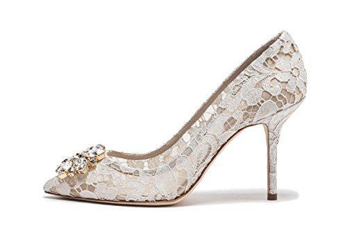 uBeauty Damen Stilettos Hell Spitzen Pumps Luxus High Heels Hochzeitsschuhe Spitze Zehen Slip-on Sandalen Weiß 39 EU