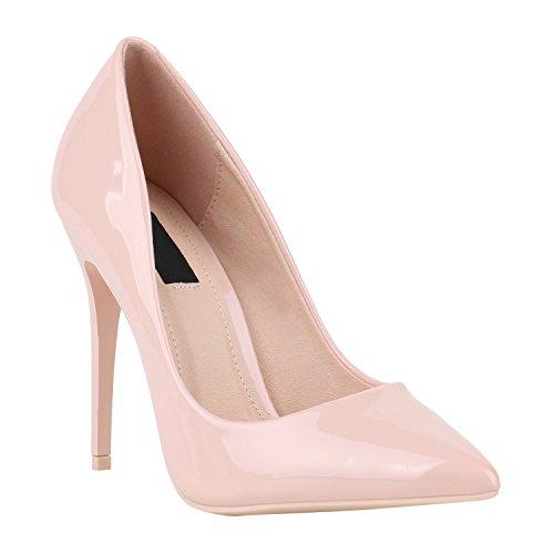 Elegante Damen High Heels Spitze Pumps Lack Metallic Stiletto Samt Glitzer Nieten Abend Business Schuhe 142119 Rosa Lack 39 | Flandell®