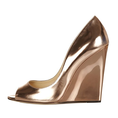 Onlymaker Damenschuhe High Heels Open Freie Toe Wedge Pumps Glitzer Nude Gold EU38