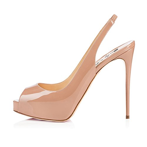 Onlymaker Damenschuhe High Heels Peep Toe Color-Block Slingback Pumps Lack Natural EU35