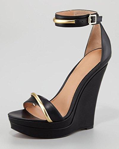 Onlymaker Damenschuhe High Heels Open Freie Toe Wedge Sandale mit Metallklette Wildleder Schwarz EU39