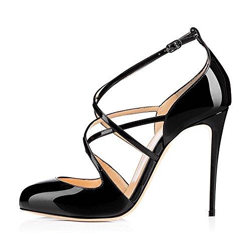 uBeauty Damen High Heels Cross Strap Klassische Pumps Geschlossene Round Toe Übergröße Schuhe Schwarz 39 EU