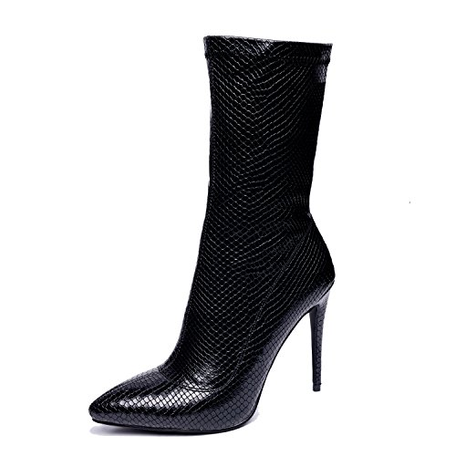 Onlymaker Damenschuhe Kunstleder Stiletto High Heels Stiefel Schwarz EU39