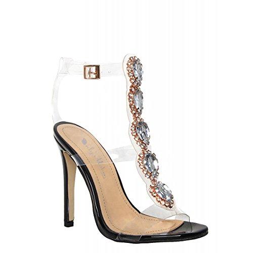 Onlymaker Damenschuhe Fashion High Heels Freie Toe Transparent Strap Riemchen Schnalle Sandale Schwarz EU39
