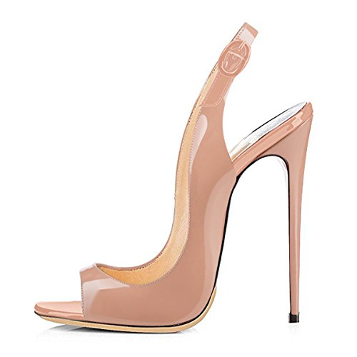 Onlymaker Sandalen High Heels Slingback Stiletto Peep Toe Party Pumps Nude1 EU38