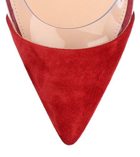 uBeauty Damen Stilettos Slip On Klassische Sexy Transparente Pumps Tägliche High Heels Große Größe Schuhe Rot Nubuk 36 EU
