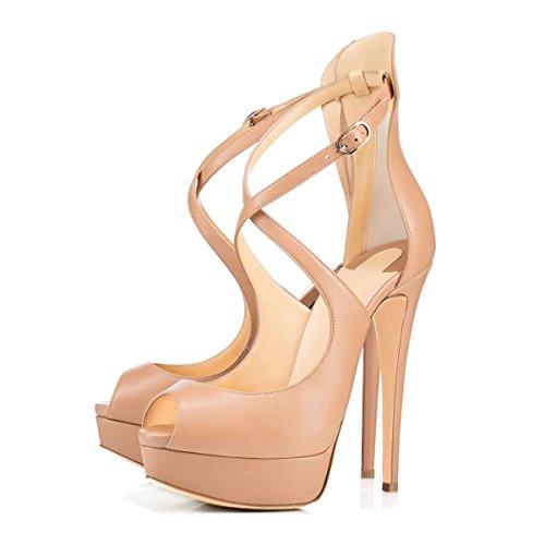 uBeauty Damen Pumps mit Plateau Stilettos Open Toe Lady High Heels Übergröße Schuhe Beige 37 EU