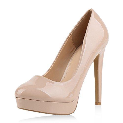 Damen Pumps High Heels Plateaupumps Lack Stiletto Elegante Schuhe Nude Beige 38