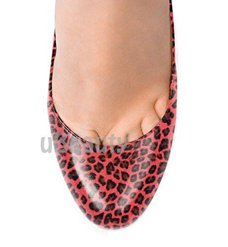 uBeauty Damen Leopard Pumps High Heels Round Zehen Pumps Slip-on Klassik Übergröße Pumps 40.5 EU
