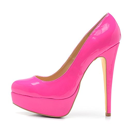 Damen Pumps Lackleder High-Heels Stiletto mit Plateau Rutsch Pink EU39