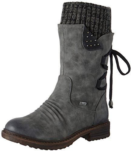 Rieker Damen 94773 Stiefel, Grau (Smoke/Schwarz/Black-Grey), 38 EU