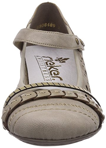 Rieker 47664, Damen Pumps, Grau (elefant/hay/gold / 42), 41 EU (7.5 Damen UK)