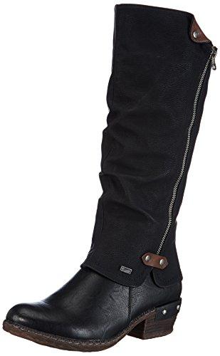 Rieker 93655 Damen Langschaft Stiefel, schwarz (schwarz/schwarz/kastanie/00), 39