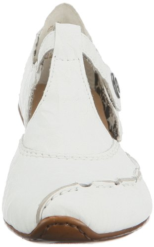 Rieker 43756 Women T-Bar, Damen T-Spangen Pumps, Weiß (weiss/80), 39 EU