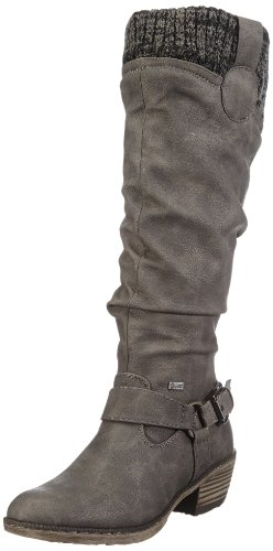Rieker 93756 Damen Langschaft Cowboy Stiefel, grau (cenere/black-grey/42), 40 EU (6.5 Damen UK)