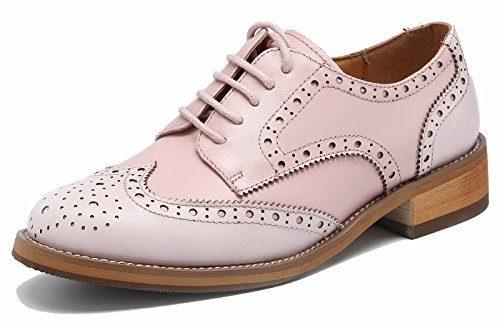 Brogue Bequem Business&Schnürhalbschuhe Leder Klassiker Perforierte Wingtip OxfordsHell-Pink36
