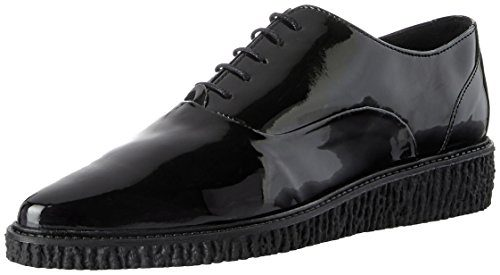 Buffalo London Damen ES 30993 PU Patent Brogues, Schwarz (Preto 01), 36 EU