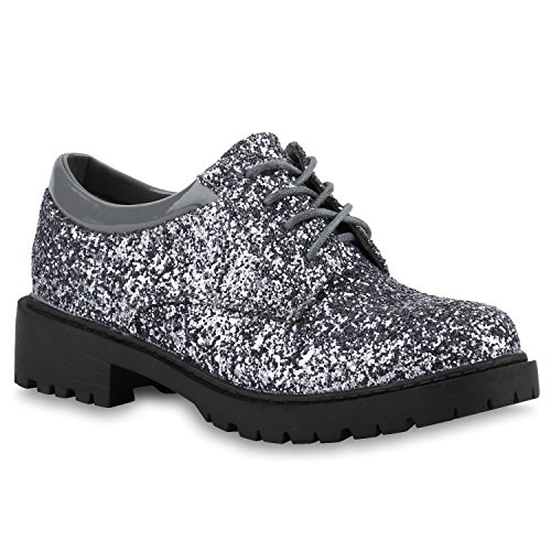 Damen Brogues Lack Halb Metallic Schnürer Dandy Style Schuhe 140197 Grau Metallic Glitzer 38 Flandell