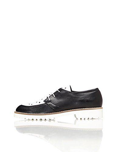 FIND Schuhe Damen mit Schlangenleder-Optik und Lochverzierungen, Schwarz (Black), 36 EU