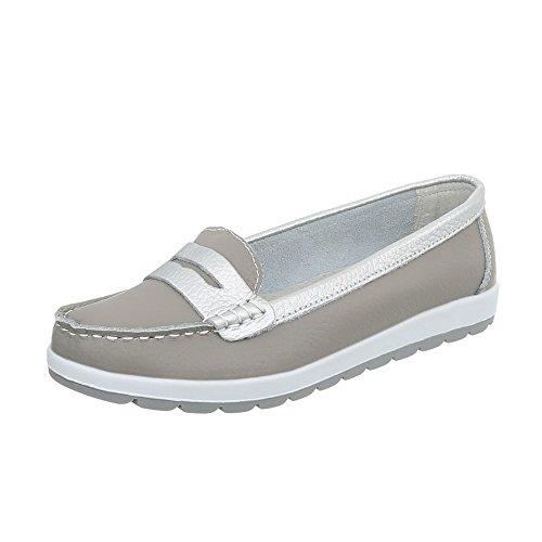 Ital-Design Mokassins Leder Damen-Schuhe Moderne Halbschuhe Grau, Gr 42, 5005-