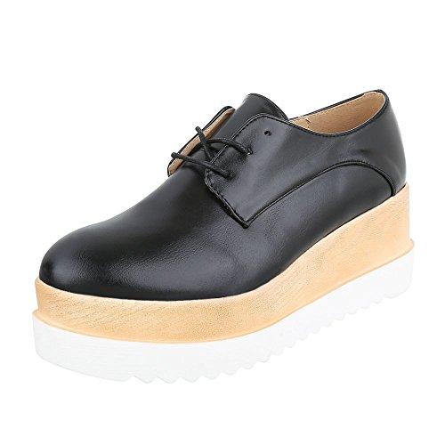 Ital-Design Schnürer Damen-Schuhe Oxford Schnürer Schnürsenkel Halbschuhe Schwarz, Gr 38, 243-P-