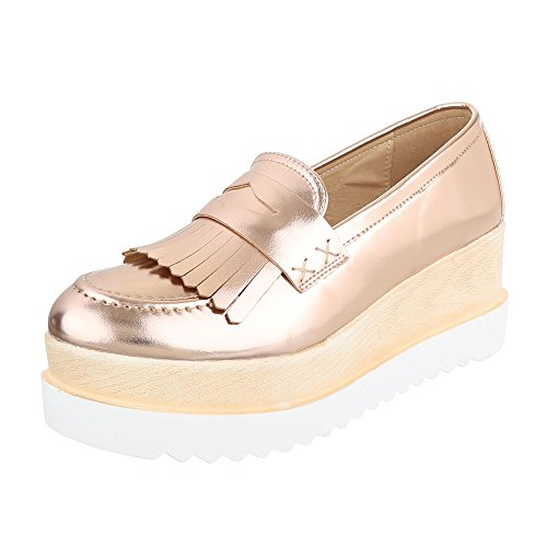 Ital-Design Slipper Damen-Schuhe Low-Top Plateau Halbschuhe Rosa Gold, Gr 38, 371-P-
