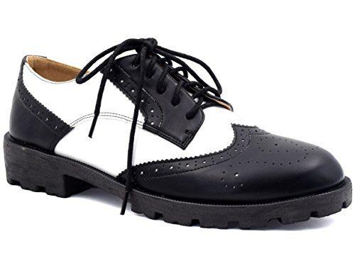 MaxMuxun Damen Oxford Schnürhalbschuhe Schwarz und Weiß 39