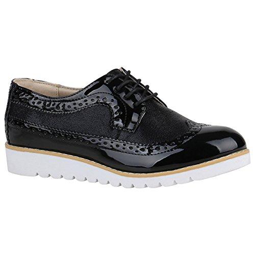 Stiefelparadies Damen Brogues Metallic Halbschuhe Profil Sohle Dandy Schuhe 155262 Schwarz Glitzer 38 Flandell