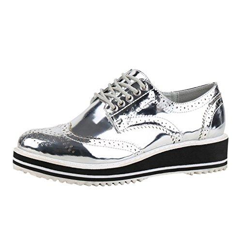 napoli-fashion Damen Schuhe Brogues Metallic Halbschuhe Profil Sohle Dandy Silber Silver Metallic 37 Jennika