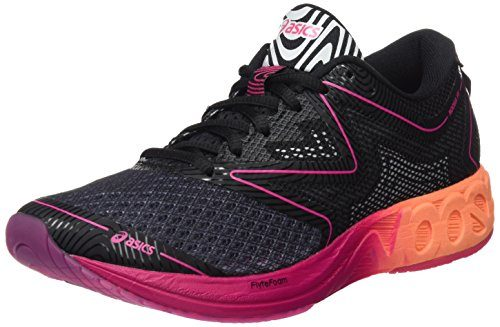 Asics Damen Noosa FF Laufschuhe, Schwarz (Black/Hot Orange/Pink Peacock), 40.5 EU