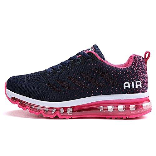 Herren Damen Sportschuhe Laufschuhe mit Luftpolster Turnschuhe Profilsohle Sneakers Leichte Schuhe Blue Plum 40