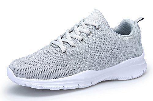 KOUDYEN Damen Laufschuhe Atmungsaktiv Turnschuhe Schnürer Sportschuhe Sneaker,XZ746-W-grey-EU41
