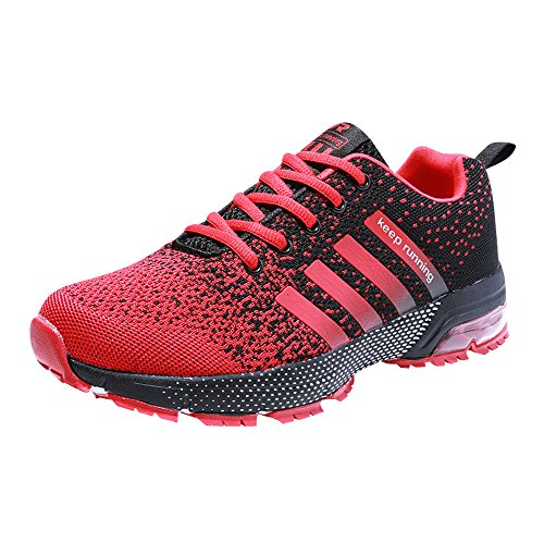 PAMRAY Herren Damen Sneaker Trekking Running Fitness Laufschuhe Air Sohle Low Top Mesh Turnschuhe 42 Rot