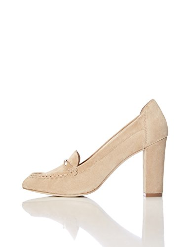 FIND Pumps Damen Aus Rauleder mit Loafer-Design, Beige (Light Tan), 39 EU