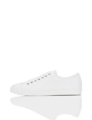FIND Sneaker Herren Aus Stoff mit Retro-Baseball-Design, Weiß (White), 43 EU