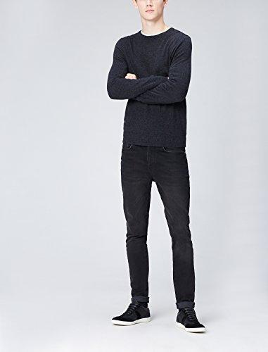 FIND Sneaker Herren Aus Kunstleder mit Retro-Design und profilierter Gummisohle, Schwarz (Black), 45 EU