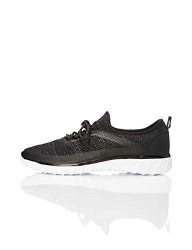FIND Sneaker Herren mit Atmungsaktivem und Strukturiertem Obermaterial, Schwarz (Black), 47 EU